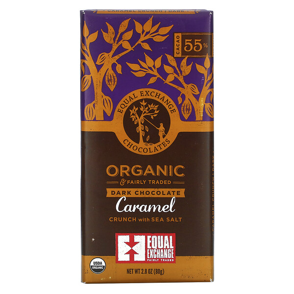 Organic, Dark Chocolate, Caramel Crunch with Sea Salt, 55% Cacao, 2.8 oz (80 g)