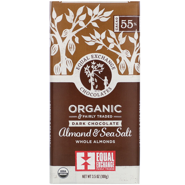 Equal Exchange, Organic Dark Chocolate, Almond & Sea Salt, 3.5 oz (100 g)