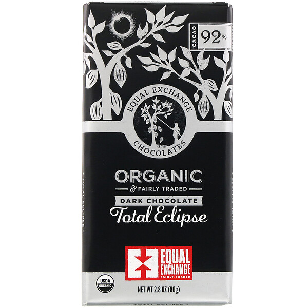 Equal Exchange, Organic Dark Chocolate, Total Eclipse, 92% Cacao, 2.8 oz (80 g)
