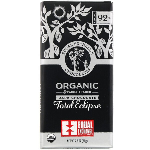 Organic Dark Chocolate, Total Eclipse, 92% Cacao, 2.8 oz (80 g)