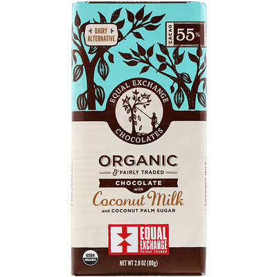 Equal Exchange Organic Chocolate, Coconut Milk and Coconut Palm Sugar, 55% Cacao, 2.8 oz (80 g)
