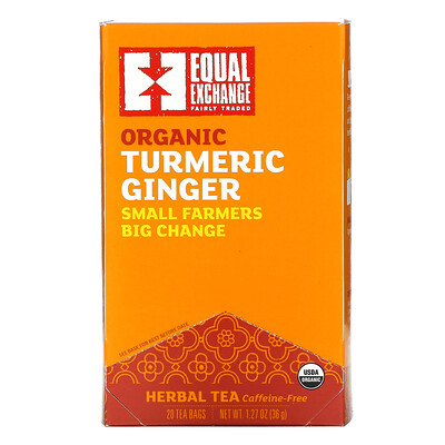 Equal Exchange Organic Turmeric Ginger Herbal Tea, Caffeine-Free, 20 Tea Bags, 1.27 oz (36 g)
