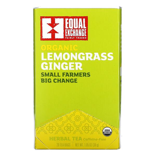 Organic Lemongrass Ginger Herbal Tea, Caffeine-Free, 20 Tea Bags, 1.05 oz (30 g)