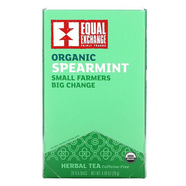 Organic Spearmint Herbal Tea, Caffeine-Free, 20 Tea Bags, 0.99 oz (28 g)