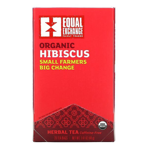 Organic Hibiscus Herbal Tea, Caffeine-Free, 20 Tea Bags, 1.41 oz (40 g)