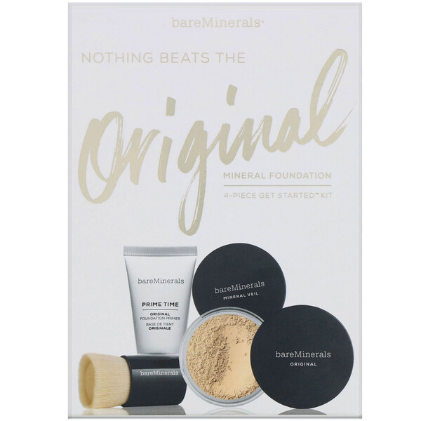 bareMinerals, Nothing Beats the Original Mineral Foundation, 4 Piece Get Started Kit, Medium Tan 18, 1 Kit (Discontinued Item)