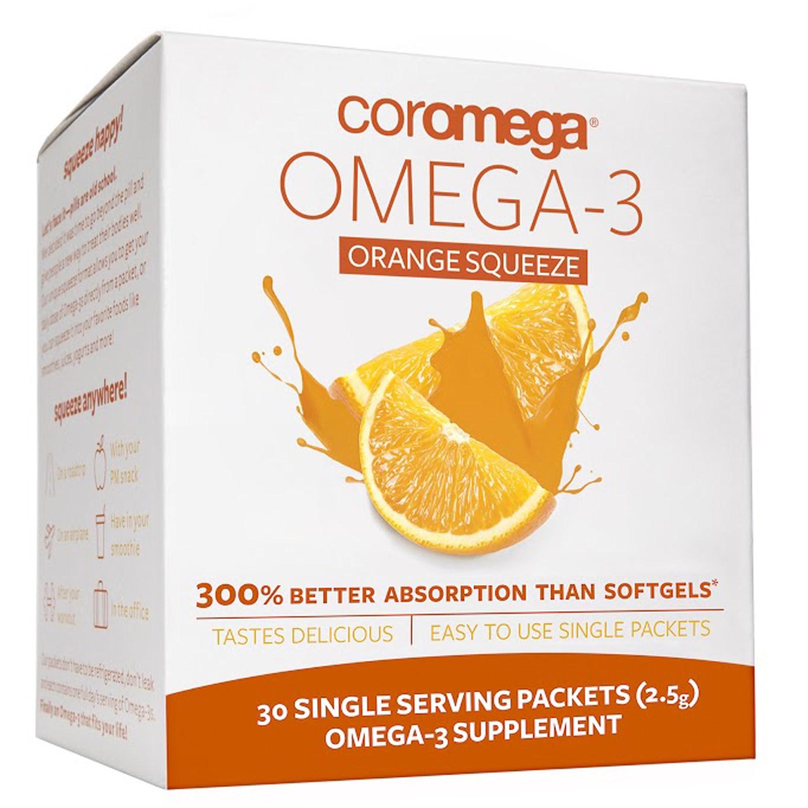 Coromega, Омега-3, Свежевыжатый апельсин, 30 порций в индивидуальных пакетах по (2.5 г) каждый