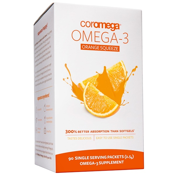 Coromega, Omega-3 Orange Squeeze, 90 Packets, 2.5 g Each