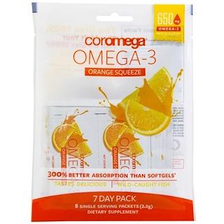 Coromega, Omega-3 Squeeze、オレンジ、8パック入り、各2.5 g