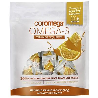 Омега-3, апельсиновые пакетики для выдавливания, 120 пакетиков, (2,5 г) каждый пакетики стирального порошка чистый продукт 45 пакетиков 900 г 31 7 унций