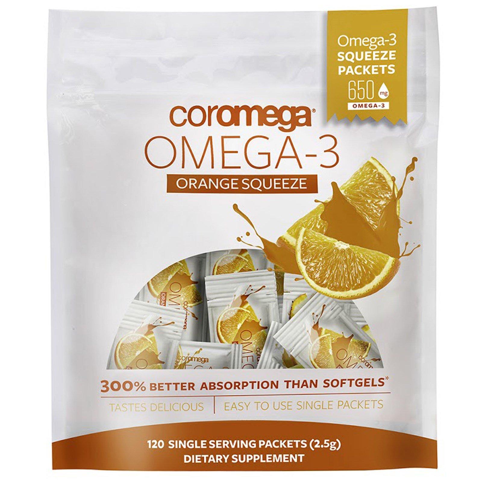 Coromega, Омега-3, апельсиновые пакетики для выдавливания, 120 пакетиков, (2,5 г) каждый