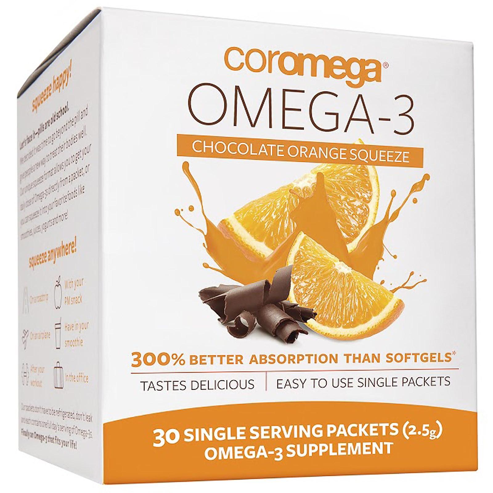 Coromega, Омега-3, Свежевыжатый апельсин и шоколад, 30 порций в индивидуальных пакетах по (2.5 г) каждый