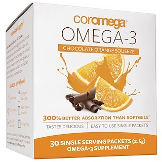 Coromega, Omega-3, Chocolate Orange Squeeze, 30 Single Serving Packets (2.5 g)