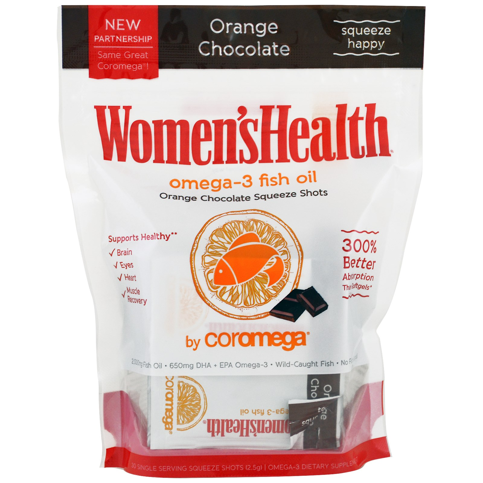 Coromega, Рыбьий жир Omega-3, апельсиновый шоколад, 30 доз, 2,5 г каждая