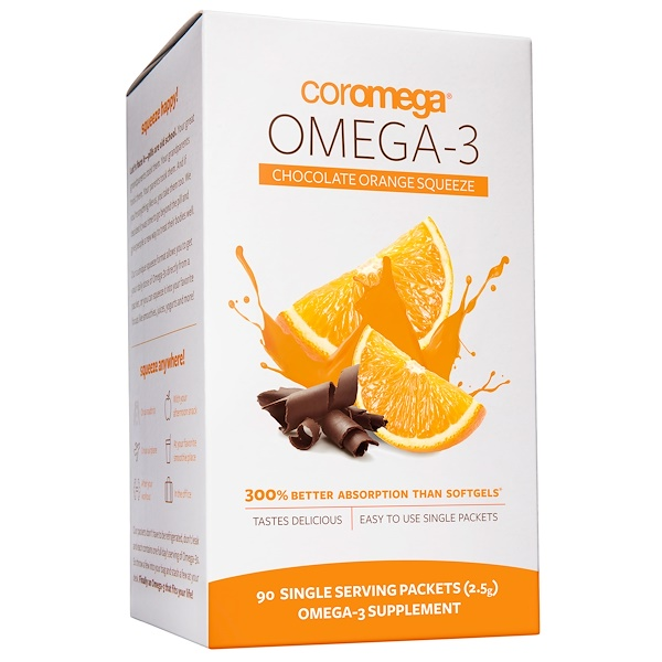 Coromega, Omega-3 Chocolate Orange Squeeze, 90 Single Serving Packets (2.5 g) (Discontinued Item)