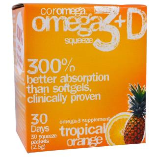 Coromega, Omega3+D Squeeze, Tropical Orange, 30 Squeeze Packets, 2.5 g Each