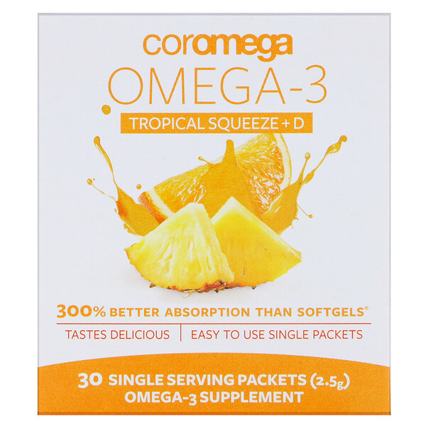 Coromega, Omega-3 Squeeze + Vit D, Tropical Orange, 30 Single Serving Packets, 2.5 g Each