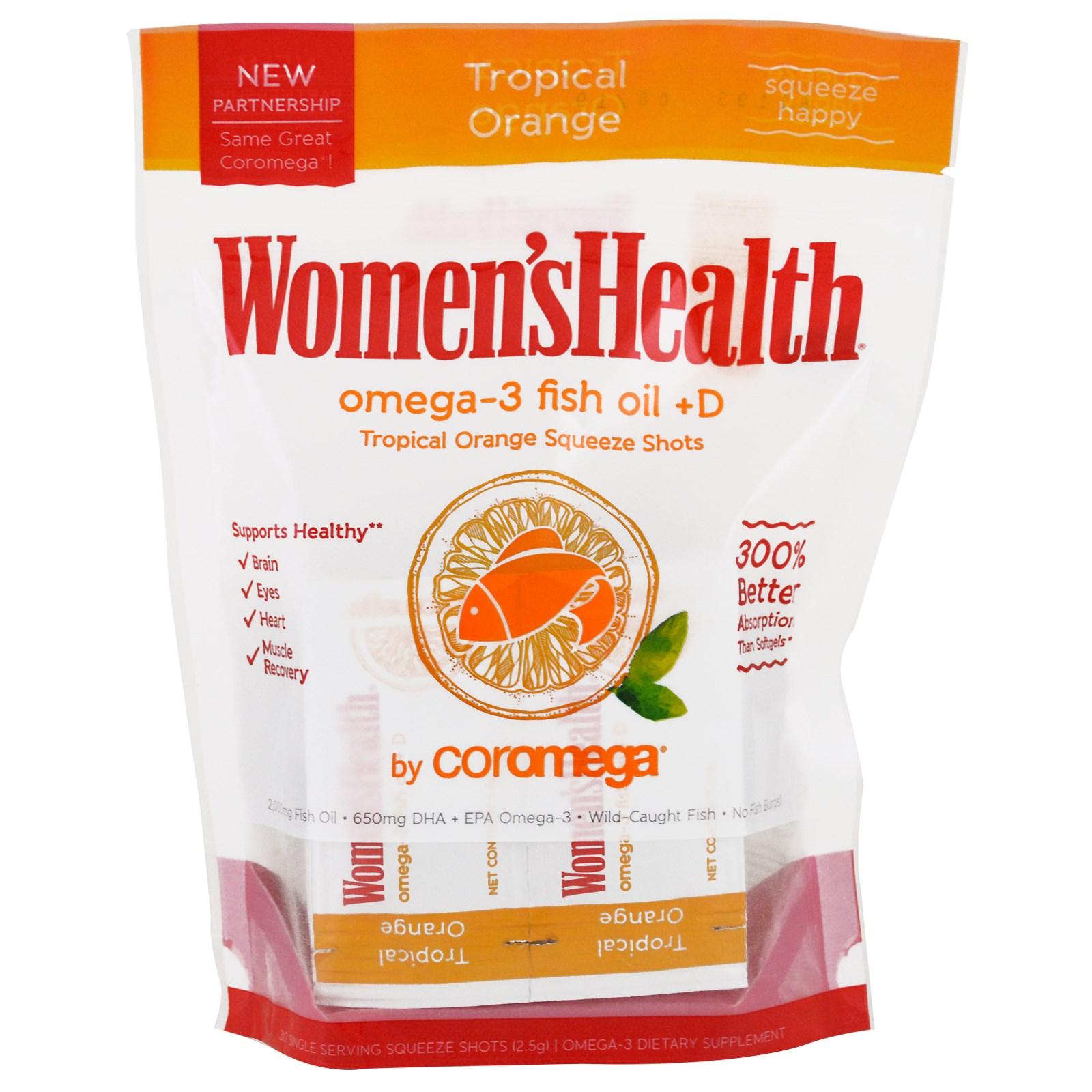 Coromega, Women's Health, Omega-3 Fish Oil + D, Tropical Orange, 30 Packets, 2.5 g Each