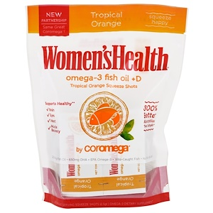 Coromega, Women's Health, Omega-3 Fish Oil + D, Tropical Orange, 30 Packets, 2.5 g Each