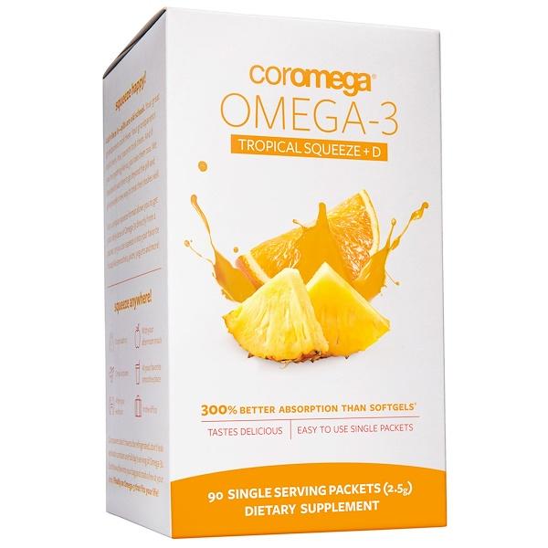 Coromega, Омега-3 со вкусом тропических фруктов + витамин D, 650 мг, 90 индивидуальных пакетиков, ( 2,5 г) каждый (Discontinued Item)