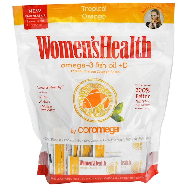 Coromega, Omega-3, Tropical Squeeze +D, Tropical Orange, 120 Packets, 2.5 g Each (Discontinued Item)