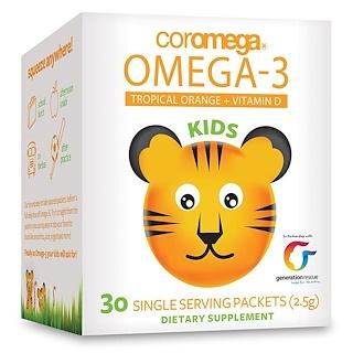 Coromega, 子ども用、オメガ3、トロピカルオレンジ + ビタミンD、30袋(1袋2.5 g)