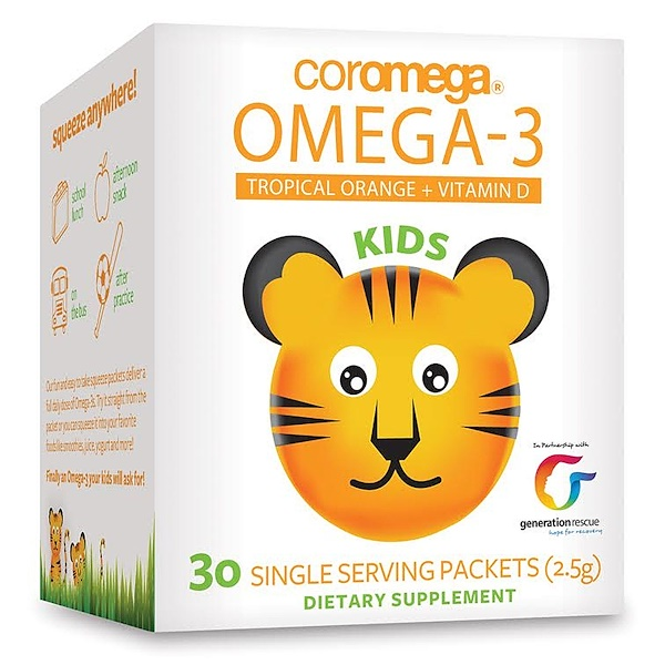 Kids, Omega-3, Tropical Orange + Vitamin D, 30 Single Serving Packets (2.5 g)