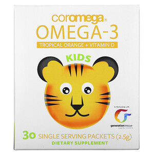 Коромега, Kids, Omega-3, Tropical Orange + Vitamin D, 30 Single Serving Packets, (2.5 g) отзывы