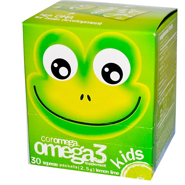 Coromega, Kids Omega 3 Squeeze, Lemon Lime, 30 Packets, 2.5 g Each (Discontinued Item)
