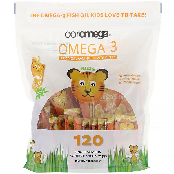 Coromega, Omega-3, Tropical Orange + Vitamin D for Kids,  120 Squeeze Shots
