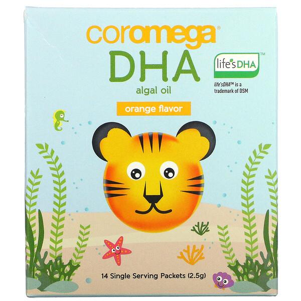 DHA Algal Oil, Orange, 14 Single Serve Packets, 2.5 g Each