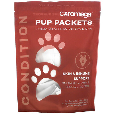 Coromega Pup Packets, Skin & Immune Condition Support, 30 Squeeze Packets, 2.6 ml Each