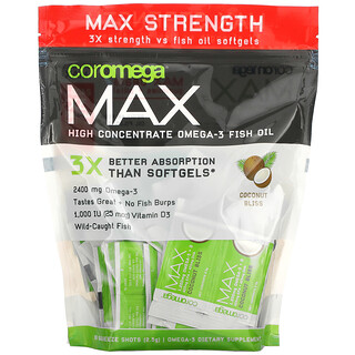Coromega, Max High Concentrate Omega-3 Fish Oil, Coconut Bliss, 90 Squeeze Shots, 2.5 g Each
