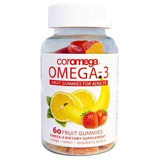Coromega, オメガ3、 大人用フルーツグミ、 オレンジ、 レモン、 ストロベリー バナナ、 60 フルーツグミ