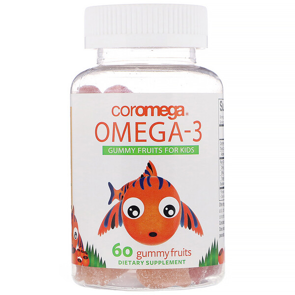 Coromega, Omega-3, Gummy Fruits for Kids, Orange, Lemon, Strawberry, 60 Gummy Fruits