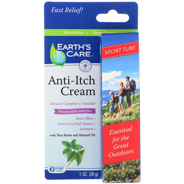Earth's Care, Anti-Itch Cream, with Shea Butter and Almond Oil, Sport Tube, 1 oz (28 g) (Discontinued Item)