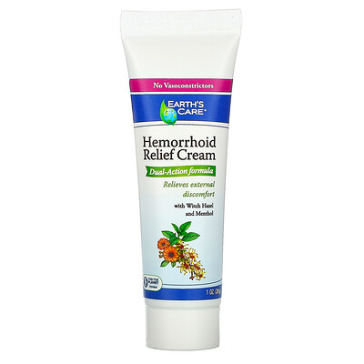 Earth's Care Hemorrhoid Relief Cream, with Witch Hazel and Menthol, 1 oz (28 g)