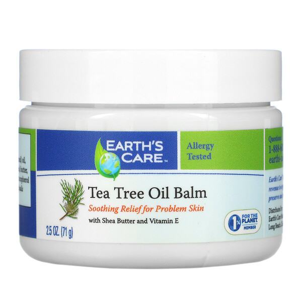 Earth's Care, Tea Tree Oil Balm, with Shea Butter and Vitamin E, 2.5 oz (71 g)