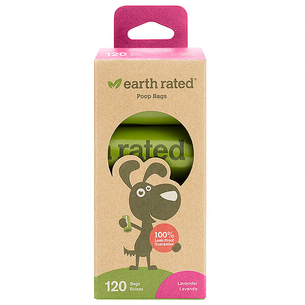 Earth Rated, Dog Waste Bags, Lavender Scented, 120 Bags, 8 Refill Rolls