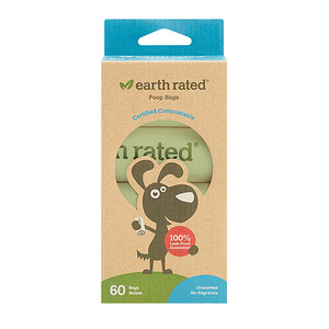Earth Rated, Compostable Dog Bags, Unscented, 60 Bags, 4 Refill Rolls отзывы