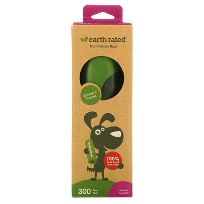 Купить Earth Rated Dog Waste Bags, Lavender, 300 Bags