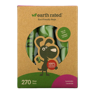 Купить Earth Rated Dog Waste Bags, Lavender, 270 Bags
