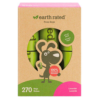 Earth Rated, Dog Waste Bags, Lavender, 270 Bags