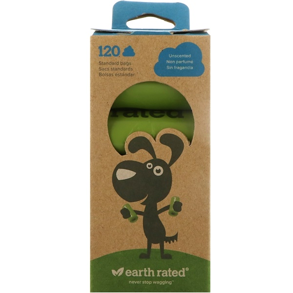 :Earth Rated, Dog Waste Bags, Unscented, 120 Bags, 8 Rolls