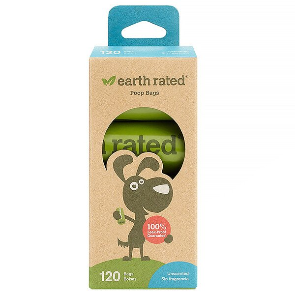 Earth Rated, Dog Waste Bags, Unscented, 120 Bags, 8 Rolls