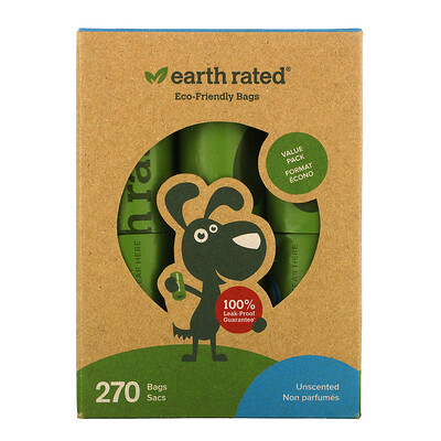 Купить Earth Rated Dog Waste Bags, Unscented, 270 Bags