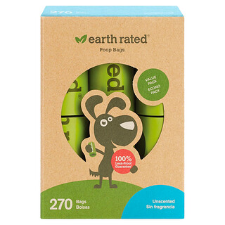 Earth Rated, Dog Waste Bags, Unscented, 270 Bags