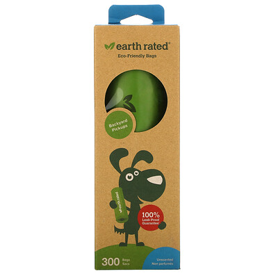 Купить Earth Rated Dog Waste Bags, Unscented, 300 Bags
