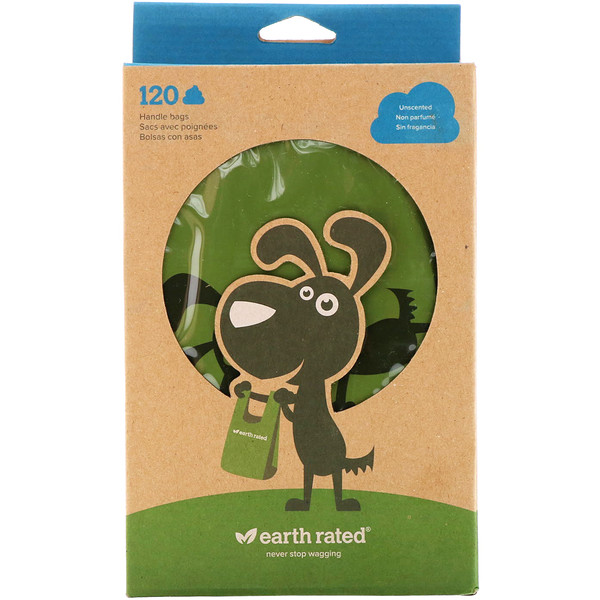 Earth Rated, Handle Bags, Dog Waste Bags, Unscented, 120 Bags (Discontinued Item)