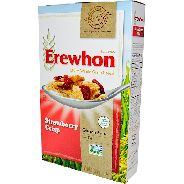 Erewhon, 100% хрустящие цельнозерновые хлопья со вкусом клубники, 10 унций (284 г) (Discontinued Item)